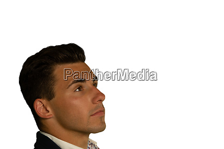 side view of a young businessman