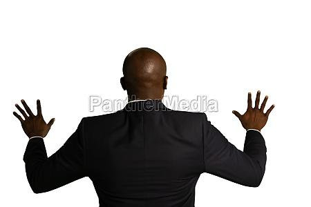 businessman using interactive touchscreen