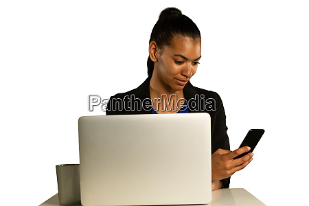 young businesswoman using a laptop and