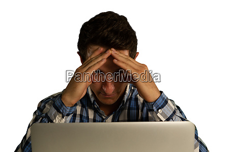businessman using laptop and touching his