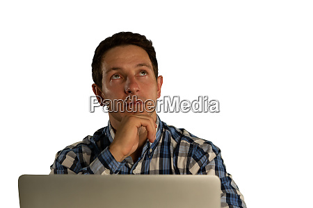businessman looking up and using a