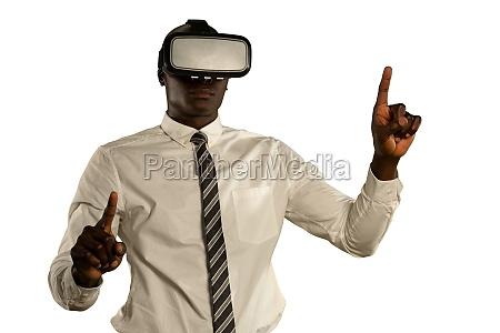 businessman using a vr headset