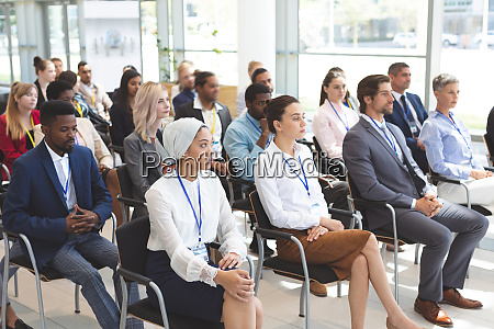group of business people attending a