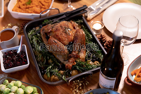 thanksgiving dinner on the table at