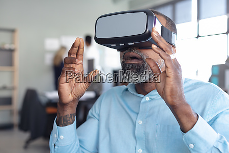 business professional at work using vr