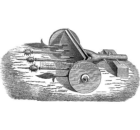 ribauldequin weapon vintage engraving