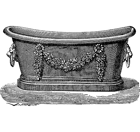 zinc bathtub vintage engraving