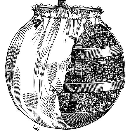 bomb or fire bomb vintage engraving