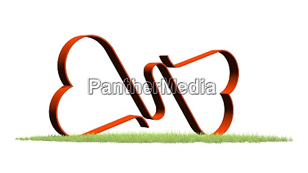 two linked hearts on a green