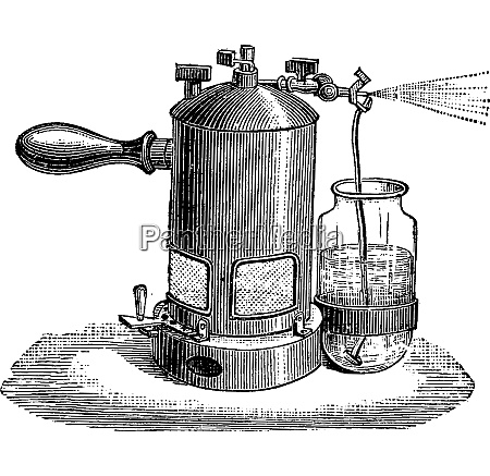 liter sprayer vintage engraving