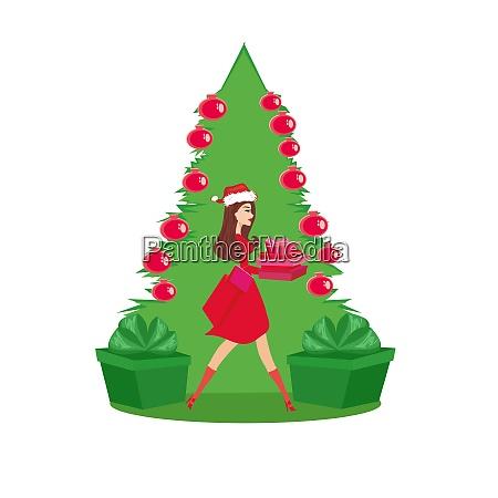 beautiful girl in christmas inspired costume