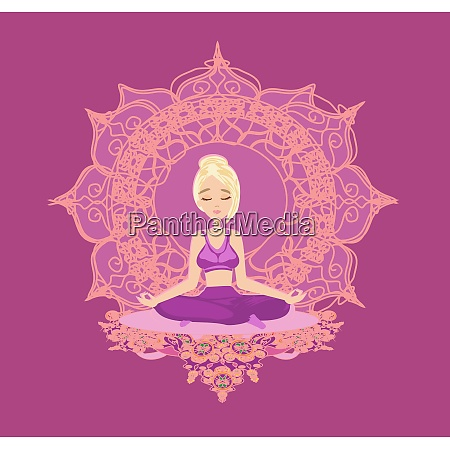 girl in lotus pose meditating abstract