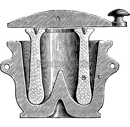 mortar vintage engraving