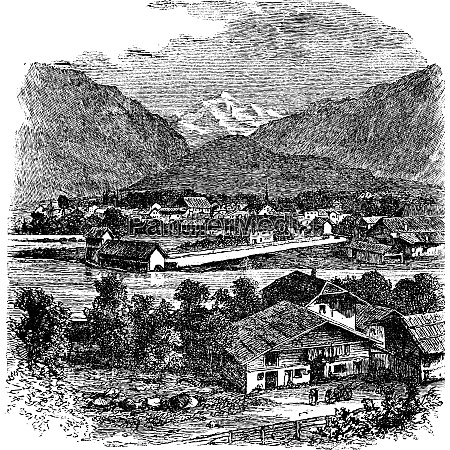 interlaken and jungfrau switzerland vintage engraving