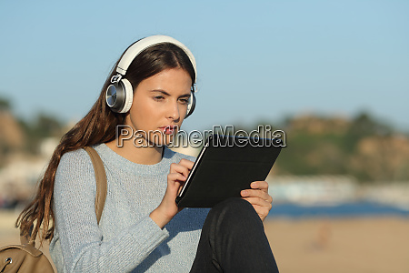 concentrated girl e learning with a