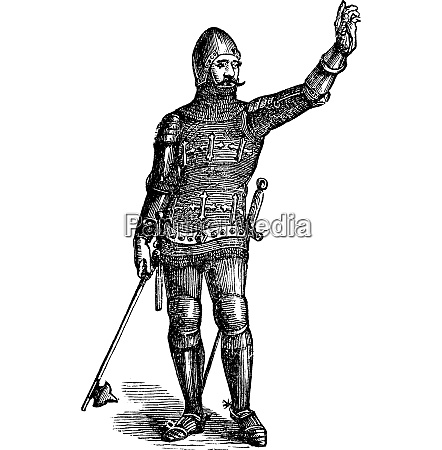 french soldier in armor in 1370