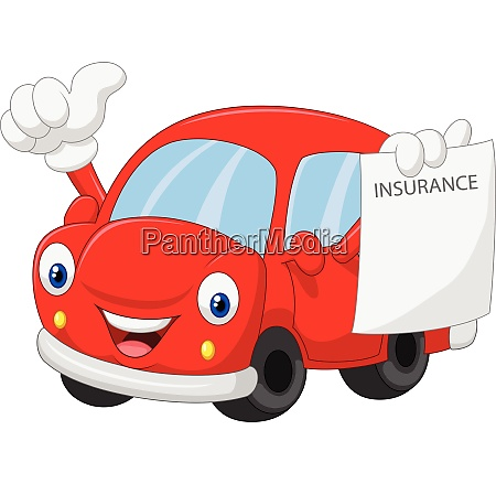 cartoon car holding insurance paper and