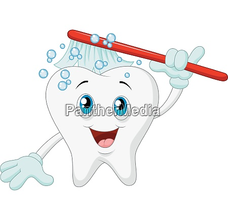 smiling tooth with toothbrush