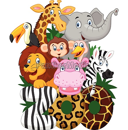 illustration collection of zoo animals on
