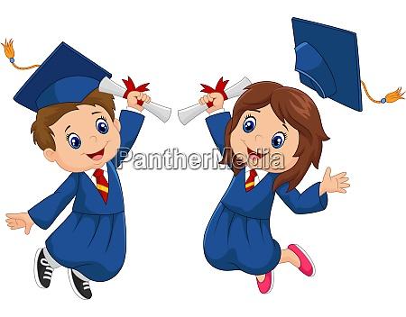 cartoon graduation celebration with school