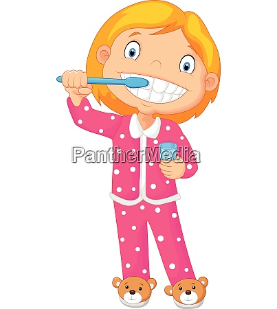 a young girl brushing her tooth
