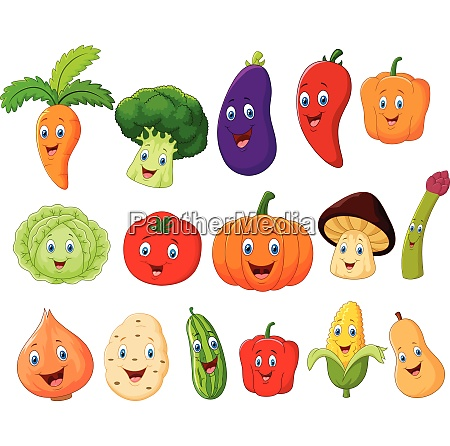 cute collection vegetable cartoon character
