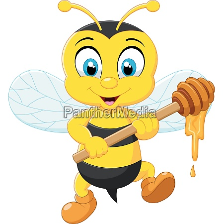 cartoon illustration bee holding honey