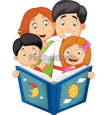 cartoon family read a bedtime story