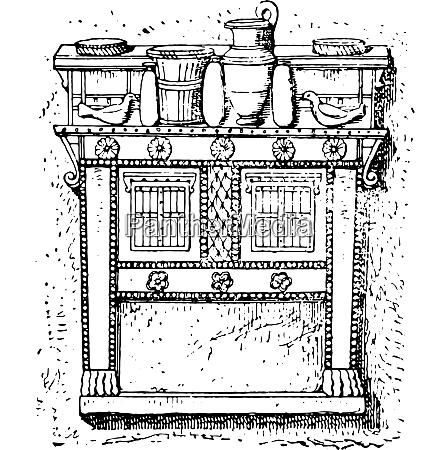 crockery load buffet vintage engraving