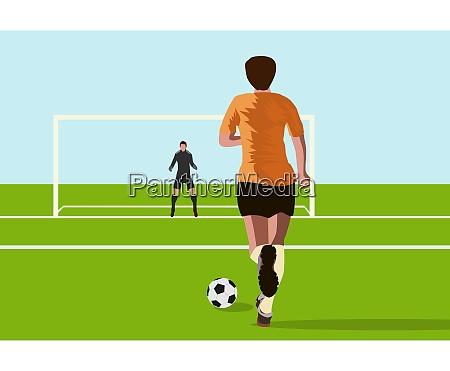 striker players are raising football to