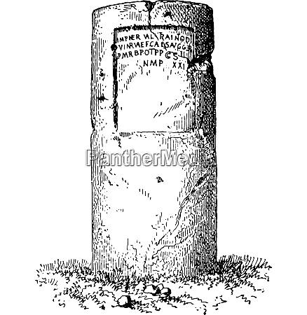 milestone vintage engraving
