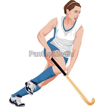 vector of female hockey player
