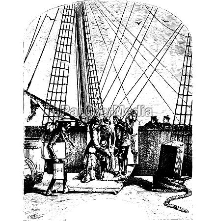the schooner pilgrim vintage engraving