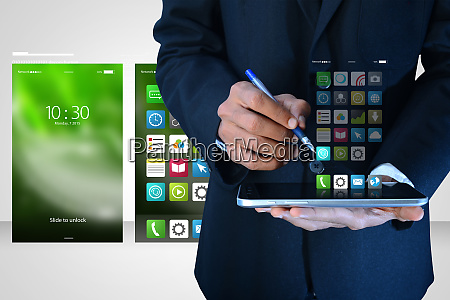 man showing app icons