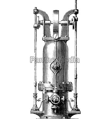 pressure accumulator vintage engraving