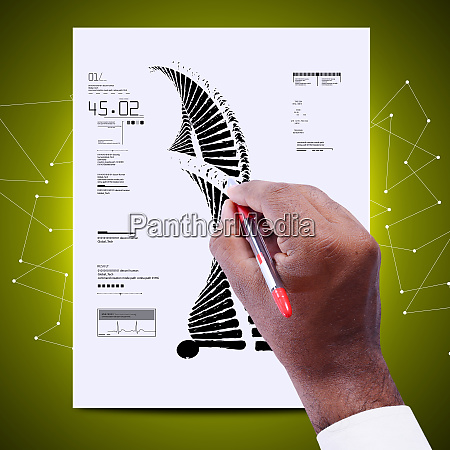 man drawing the sketch of dna
