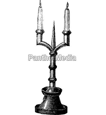 candlestick vintage engraving