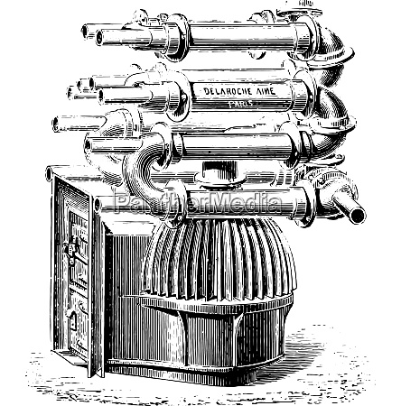 furnace with bell fins vintage engraving
