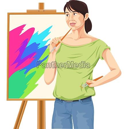 vector of female artist thinking