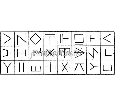 runes vintage engraving