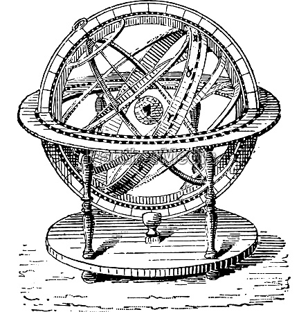 armillary sphere vintage engraving