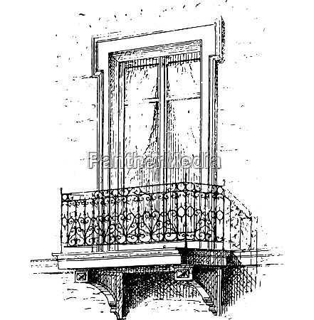 balcony vintage engraving