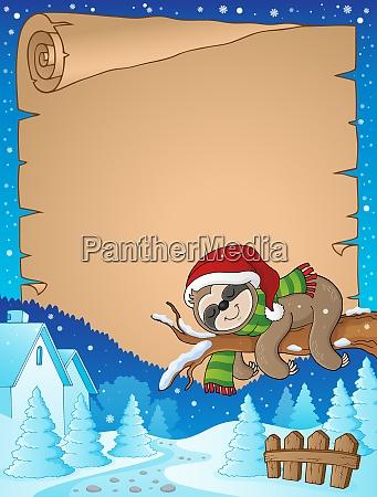 christmas sloth theme parchment 2
