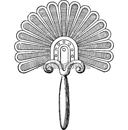 greek fan vintage engraving