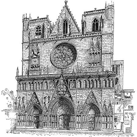 lyon cathedral in lyon france vintage