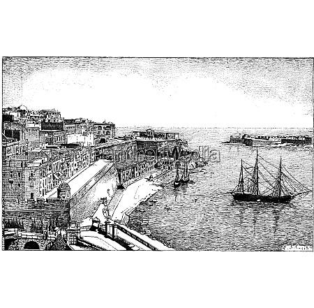 republic of malta vintage engraving