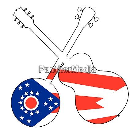 ohio state flag banjo and guitar