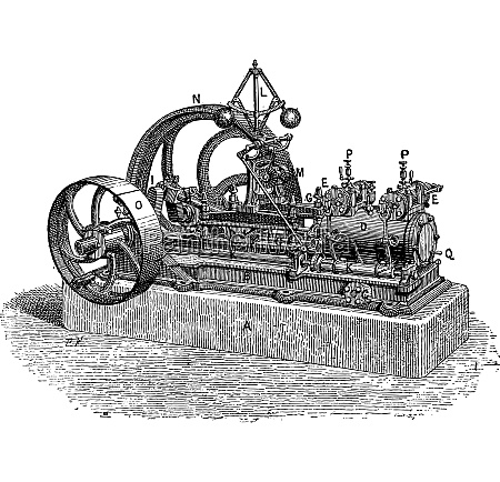 horizontal steam engine vintage engraving