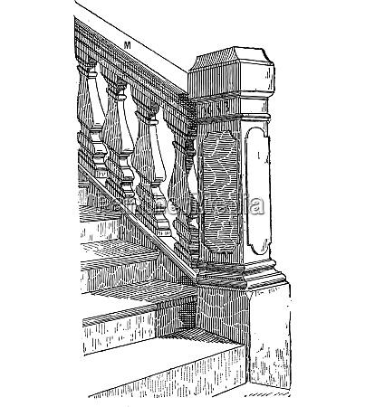staircase handrail vintage engraving