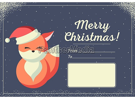 christmas card with cute animals